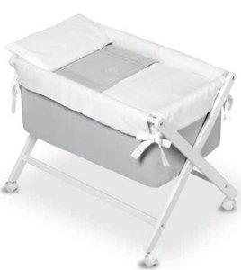 Bimbi Elite - Vestidura minicuna, color blanco y gris