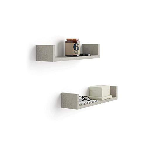MOBILI FIVER, Par de estantes en U, Modelo Iacopo, de MDF, Color Cemento, 50 x 12 x 9 cm