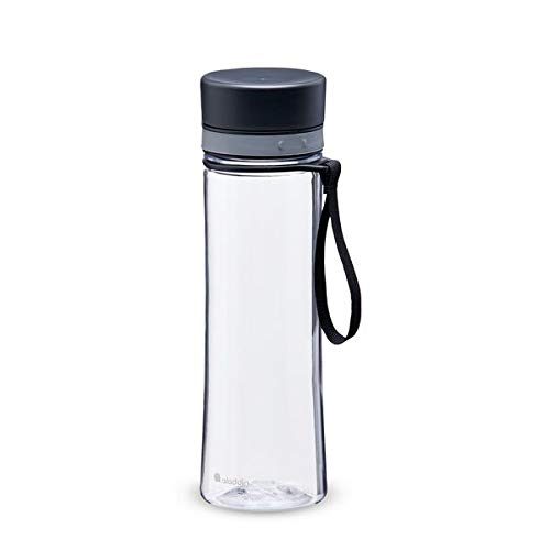 Aladdin Aveo Water Bottle 0.6L Clear & Grey Leakproof - Wide Opening for Easy Fill - BPA-Free - Smooth Drinking Spout - Stain and Smell Resistant - Dishwasher Safe