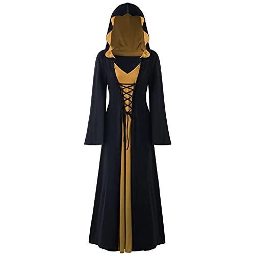 Halloween Vestidos Largo para Mujer, Vestido con capucha Manga Larga Diablo gótico Punk Bruja vampiro cosplay Vestido de Noche Vendaje Vestidos de Vestir noble Fiesta 2021 Vestidos Trajes de teatro
