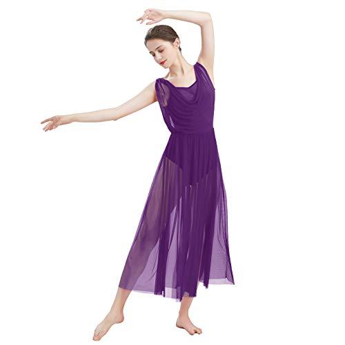 FYMNSI Damen Lyrisch Tanz Kleid Ärmellos Rückenfrei Schlitz Tüll Maxikleid Lyrische Modern Contemporary Tanzkostüm Trikot Latein Ballett Tüllkleider Ballettanzug Lila XS