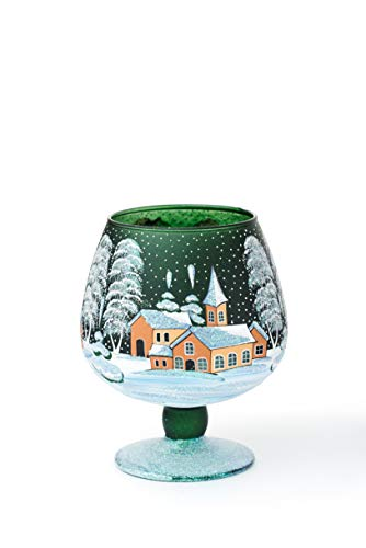 AROMA HOME STUDIO ART PAINTING Weihnachts Windlicht Teelichthalter, Winter Take a Rest, Weinglas klein grün und 2 x Teelichts White Tea