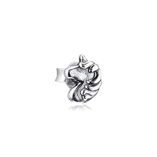 QNWLKJ Fit Original Pandora Pulseras DIY Plata De Ley 925 My Magical Unicorn Pendientes De Un Solo Botón Pendientes Kolczyki Aretes De Mujer Earing For Women Jewelry