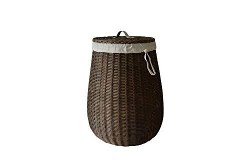 Sechome B10-AET Cesto portabiancheria Rotondo in midollino Naturale con Fodera, Prodotto Artigianale, Vimini