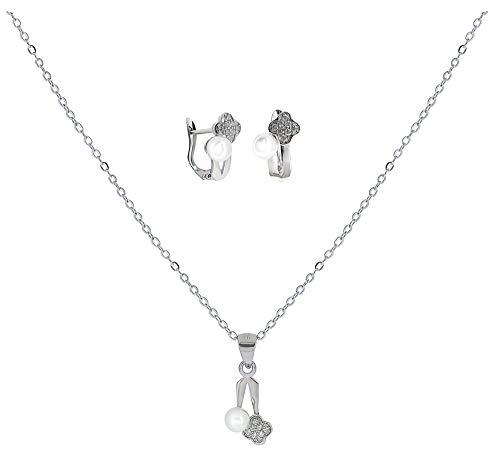 ENTREPLATA Juego Plata de Ley 925 Primera Comunion Conjunto Collar Colgante Pendientes Circonita Perla Regalo Original Niña Joven Mujer 4