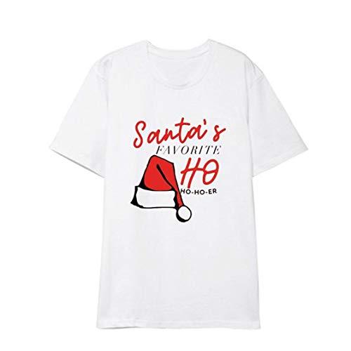 Camiseta de Navidad para mujer y adolescente con estampado del alfabeto y cuello redondo, color negro