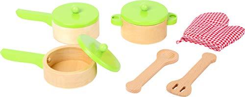 small foot 10733 houten kookset, incl. een pot, twee pannen, keukenhulpen en ovenhandschoenen, ideale aanvulling op de kinderkeuken