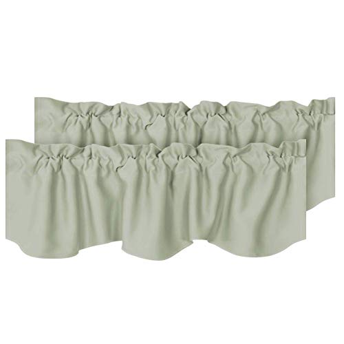 H.VERSAILTEX 2 Panels Blackout Curtain Valances for Kitchen Windows/Living Room/Bathroom Privacy Protection Rod Pocket Decoration Scalloped Winow Valance Curtains, 52