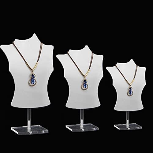 LessLIFE Soporte de exhibición de la joyería, maniquí acrílico 3D collar sostenedor de la exhibición de la joyería colgante del busto de la cadena de