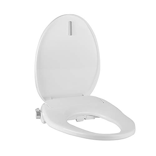Tibbers Home Electric Bidet Toilet Seat, Adjustable Heated Seat and Water, Dual Nozzle, Elongated Bidet Seat, White