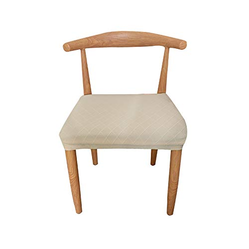 Stretch Spandex Jacquard Dining Chairs Seat Covers - Set of 2 Chair Seat Slipcovers Chair Protectors - Beige