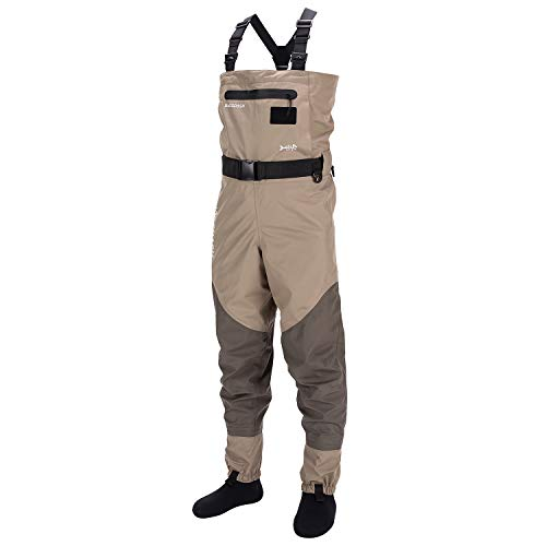 Bassdash Men's Breathable Lightweight Chest and Waist Convertible Waders for Fishing and Hunting, Stocking Foot and Boot Foot Waders Available in 7 Sizes (Stocking Foot, L)