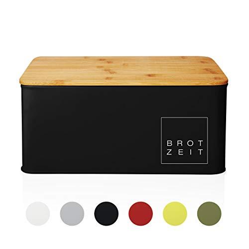 Lumaland Cuisine Brotkasten Brotdose Brotbox aus Metall mit Bambus Deckel, Brotbehälter rechteckig, 30,5 x 23,5 x 14 cm Schwarz