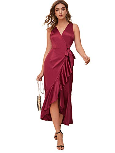 SheIn Women's V Neck Solid Satin Dress Split Sleeve Wrap Maxi Party Evening Dress