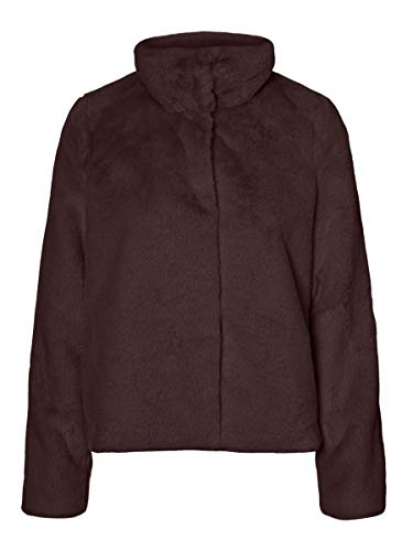 Vero Moda VMTHEA Short Faux Fur Jacket Col Chaqueta, Chocolate Plum, L para Mujer