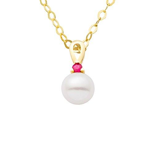 Miore Damen Halskette 9 Karat (375) Gelbgold rhodiniert Rubin