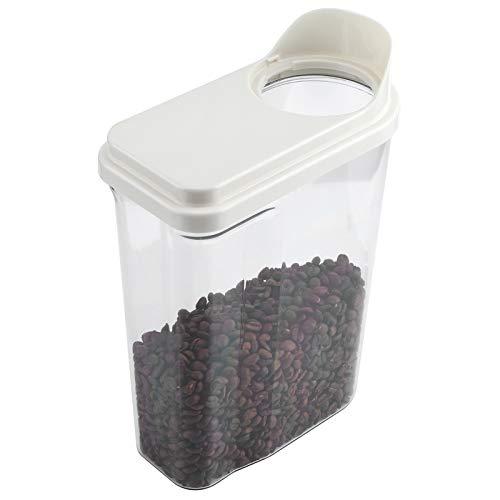 DFGH Caja De Almacenamiento, 2.5L Impermeable Sellado De Alimentos Grain De Almacenamiento Tarro Transparente Cereal Dispenserwhite