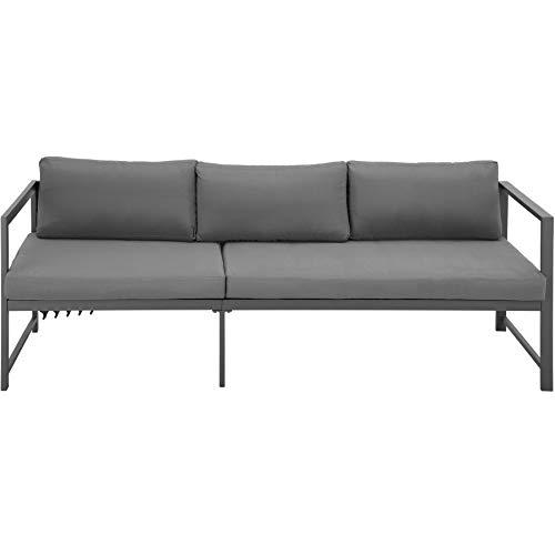 TecTake 403903 Aluminium Sitzgruppe für Garten, Balkon und Terrasse, wetterfest, 6-Fach verstellbare Rückenlehne, inkl. weiche Sitz- und Rückenkissen, grau - 9
