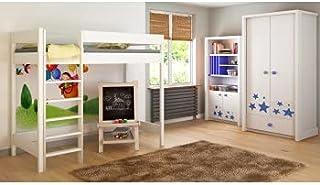 Children's Beds Home Lits Surélevés pour Enfants Enfants Juniors Aucun Matelas Inclus (140x70, Blanc)