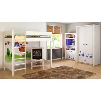 Children's Beds Home Letti a soppalco per Bambini Bambini Junior Senza Materasso Incluso (160x80, Bianco)