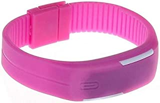 Unisex Digital LED Dial Silicone Band Watch - Pink