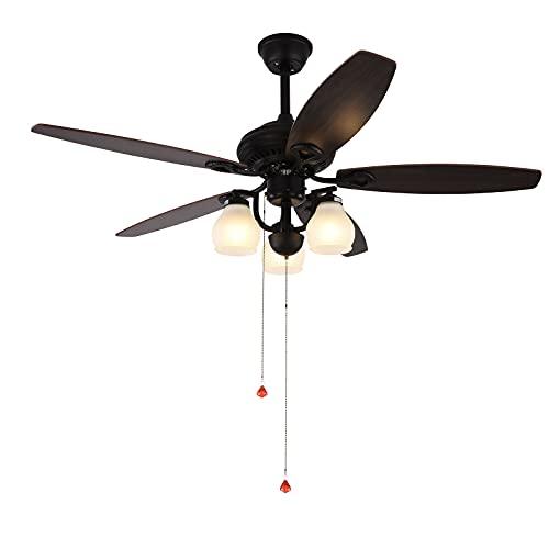 Ventilador de techo con luz e interruptor de cordón negro – 52 pulgadas LED ventilador luz de techo con mando a distancia velocidad del viento ajustable función inversa para dormitorio salón