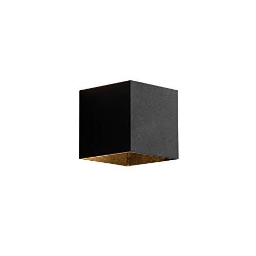 Lámpara de pared de la modernidad de la simplicidad nórdica Luz cuadrada de la pared LED Fuente de la luz blanca Blanco Cuerpo de luz negra usada para la lectura de la iluminación en la cama de la par