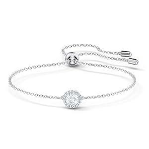 Swarovski Angelic Round Armband, Rhodiniertes Damenarmband mit Funkelnden Klaren Swarovski Kristallen und Weißem Kristallpavé