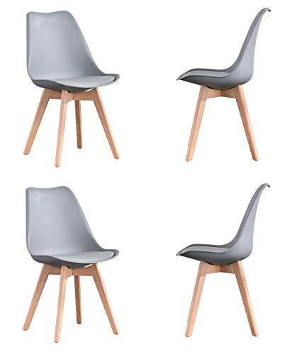 ArtDesign FR - Juego de 4 sillas de comedor modernas, asiento acolchado suave, patas de madera de haya natural maciza, parte trasera ergonómica, color gris