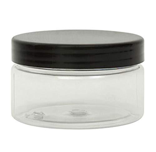 10bocaux de 100ml en plastique transparent pour produits cosmétiques avec couvercles noir à visser pour crèmes/liquides/maquillage/voyages/huiles