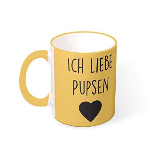 O2ECH-8 11 OZ ICH Liebe PUPSEN Becher Keramik Retro Style Mug - Lustige Geschenke Urlaub Weihnachten Goldenrod 330ml