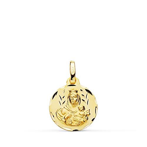 Medalla Escapulario V. Carmen y C. Jesús Oro 18 Kilates Tallado 14mm
