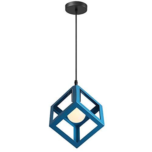 iDEGU - Lampadario a sospensione, moderno, a forma di cubo, stile geometrico, in metallo, E27, plafoniera per camera da letto, soggiorno, ristorante, 16 cm blu