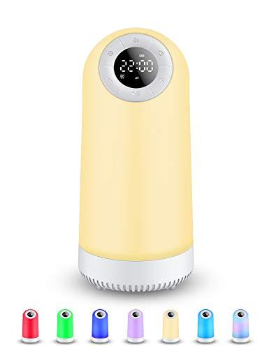 Lámpara Nocturna de Control Táctil, Lamparas de Mesita de Noche Portable Lámparas para Dormitorio, Luz de Noche de Mesa Recargable con altavoz Bluetooth, el Mejor Regalo para Adolescentes y Niños