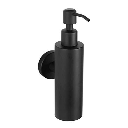 Bradoner LXJ - Dispensador de jabón cuadrado, acero inoxidable, dispensador de champú para jabón líquido, estilo negro acabado montado en la pared para el baño (color : dispensador de champú redondo)