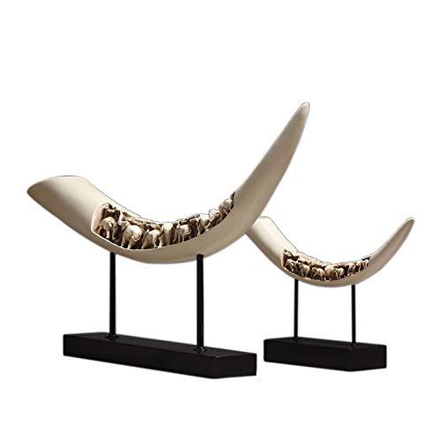 Yadlan Avorio Elefante Scultura di Animali Statua Elefante Artificiale Zanna Modello Ornamento Desktop Regalo per Home Office