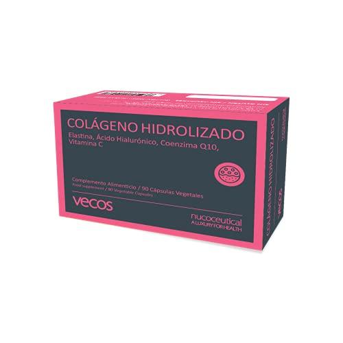 Colágeno hidrolizado Vecos para la buena salud e hidratación de la piel – Elastina, ácido hialurónico, coenzima Q10 y vitamina C para mejorar la elasticidad de la piel – 90 cápsulas vegetales