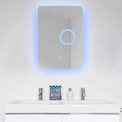 YU YUSING Badspiegel 50 x 70 cm Badezimmerspiegel mit LED Beleuchtung Dimmbar Lichtspiegel Wandspiegel Touch Schalter 3X Vergrößerung, IP54, Energieklasse A+, rechteckig