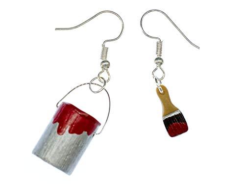 Farbeimer Pinsel Set Ohrringe Farbe Lack Miniblings Maler Künstler Malerset rot