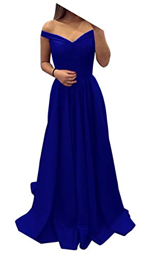 Dressylady Royal Blue Off The Shoulder A Line Long Prom Homecoming Dress Evening Gowns(12)