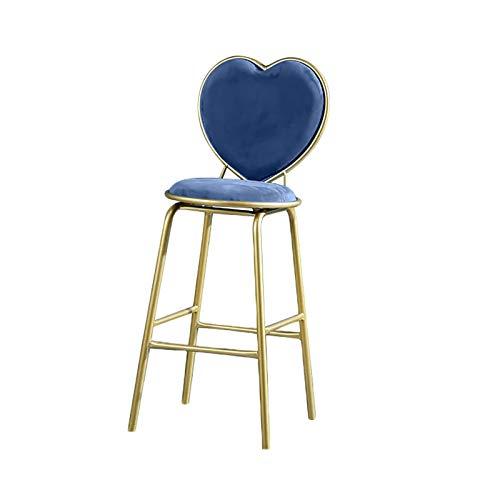 QWEA Taburetes de Bar, Taburete Alto de Bar Moderno con Respaldo cómodo en Forma de corazón, cojín de Espuma Engrosada y reposapiés de conveniencia, Altura del Asiento de 65 cm (Color: Azul)