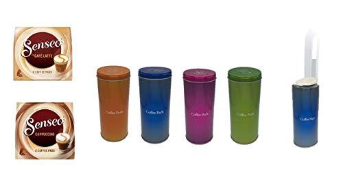 Aufbewahrungs- Metalldose - Kaffeepaddose hält die Pads länger frisch - Cafe Latte + Cappuccino Pad Dose für Senseo Pads - edle Vorratsdose für Pads in 4 Metallic Farben mit Padheber
