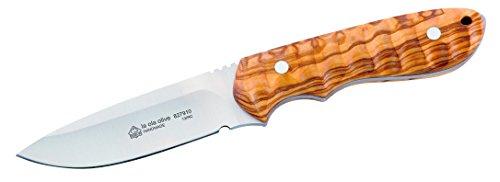 Puma IP Erwachsene Gürtelmesser, Stahl AN.58, Olivenholz-Griffschalen, Fangriemen-Oese, braune Lederscheide mit Gürtelschlaufe, Mehrfarbig, One Size