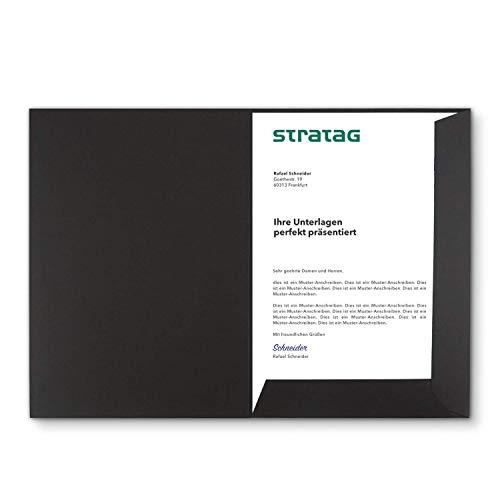 Präsentationsmappe A4 in Schwarz 5 Stück (wählbar) - erhältlich in 7 Farben - direkt vom Hersteller STRATAG - vielseitig einsetzbar für Ihre Angebote, Exposés, Projekte oder Geschäftsberichte