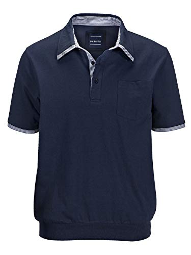 BABISTA Herren Regular Fit Blousonshirt Kurzarm mit Hemdkragen in Marineblau aus Baumwolle mit Doppelkragen-Optik