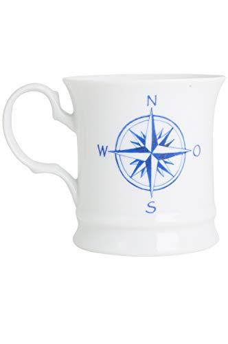 CUP+MUG Becher blau weiß Windrose, Anker