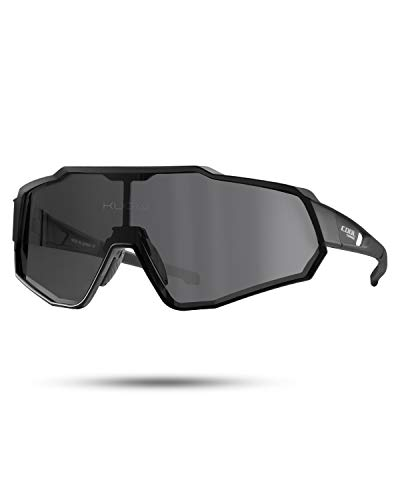 Cool Change Polarized Cycling Sunglasses Full Screen TR90 Unbreakable Lightweight Sports Glasses for Men Women (Black Polarized)