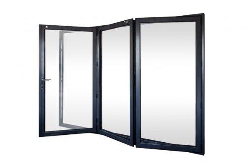 Puertas plegables de aluminio de 3 paneles.