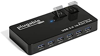 Uksc 10 Port Usb 2.0 High Speed Hub With Quick Flip Top Loading Port