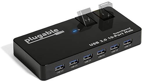 Plugable USB Hub, 10 Port - USB 3.0 5Gbps with 48W...